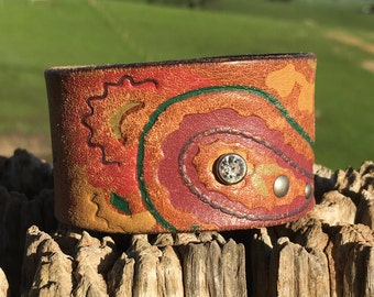 OOAK Upcycled Leather Cuff Bracelet