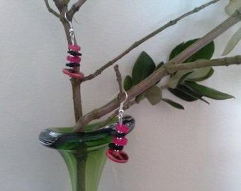 Pink & Black Button Dangle Earrings