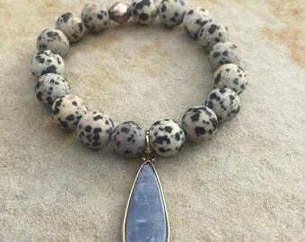 Dalmation Jasper stretch bracelet with charm