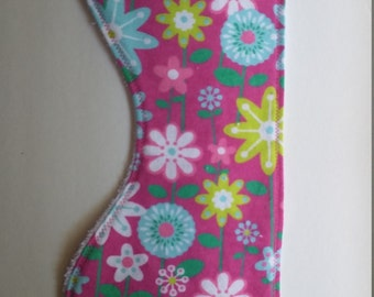 Pink with flowers burp cloth