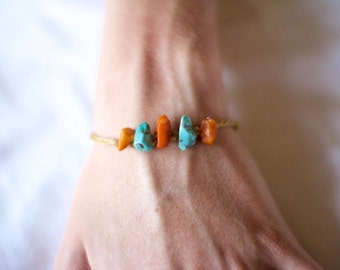 Braided Amber and Turquoise Bracelet