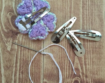 Perfectly-Purple Flower Hair Clips