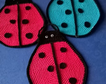 handmade crochet pot holders pair ladybugs