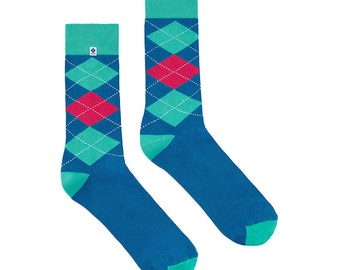 Blue pink diamonds Socks