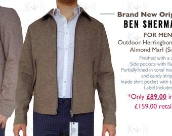 New Herringbone Jacket in Almond Marl by Ben Sherman (Size M)