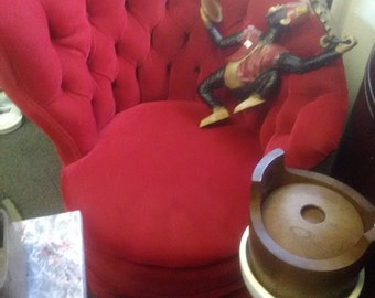Fabulous 1940's Hollywood Regency Red Velvet, Deep-tufted Asymmetrical Lounge Chair