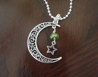 Moon and stars charm necklace