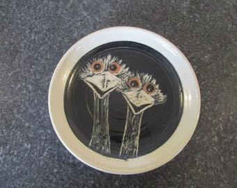 Pottery emu dish plate Australian signed glazed handmade trinket dish ring dish.