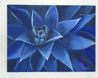 Oil Painting - Midnight Blue Succulent