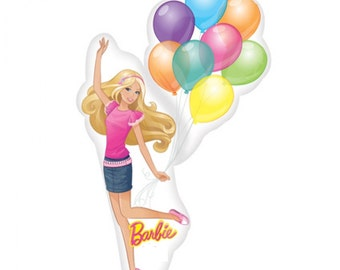 FAST SHIP Jumbo Barbie Birthday Balloons, Barbie Party Balloons, Barbie Mylar Foil Balloons, Barbie Party Supplies