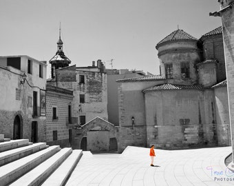 Spain Photography, Professional Print, Black and White, Travel, Baroque, Cathedral, Gothic, Architecture, Living Decor. Tortosa, Spain.