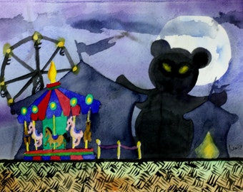 Night Carnival Watercolor Painting Giclée Print