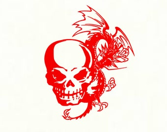 Skull With Dragon Decal