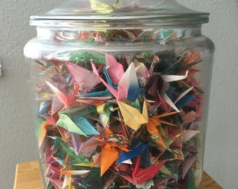 "Origami Cranes in 13"" H by 8.5"" dia Glass Jar"