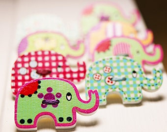 Adorable wooden elephant button thumb tacks / push pins - 1 set of 8