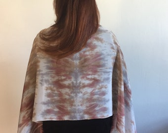 Large hand dyed 100% silk scarf