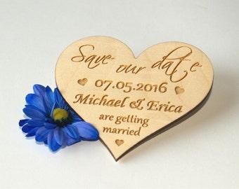 Save the date, Save the date rustic, Save the date magnet, Wood save the date, Save the date magnet rustic, Wedding favor, Wood heart