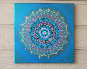 Mandala Painting, 12x12 Painting on Stretched Canvas, Original Mandala Design, Ready to Hang