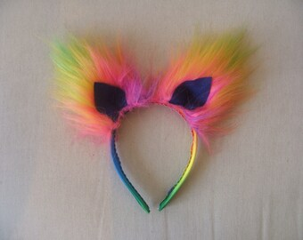 Rainbow fake fur ears on alice band