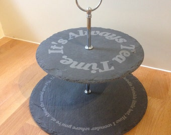 Mad Hatter Inspired Two Tier Slate Cakestand