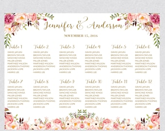 Printable Watercolor Boho Botanical Wedding Seating Chart Template,Table plans seating assignment,Editable Text Instant Download PDF WSC196