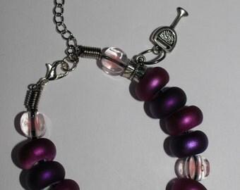 Purple wine glass leather charm bracelet