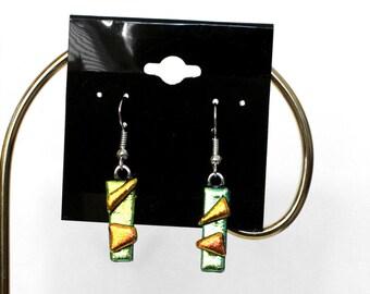 Green Dichroic Earrings-Dichroic Glass Earrings-Dichroic Jewelry-Fused Glass Jewelry
