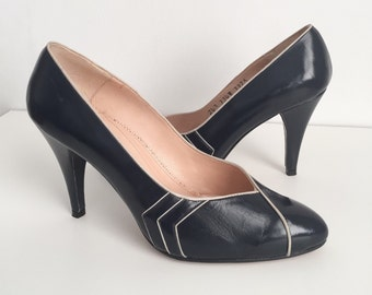 Vintage Navy Blue High Heels, Vintage Pumps