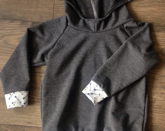 Boys french terry charcoal gray hoodies made to order sizes 3 months to 5T