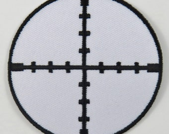 Crosshairs Gun Sight Scope (White) Iron On/ Sew On Cloth Patch Badge Appliqué cybergoth cyber punk goth rocker emo rave sniper Size: 6.8cm