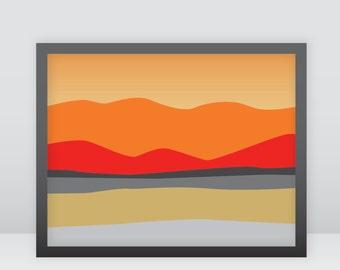 landscape, southwest, Arizona, sunset, sunrise, orange, mountains, printable wall art