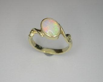 Opal ring, October birth stone ring