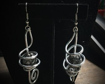 Silver & Brown Swirl Earings 026
