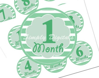 Baby 12 months Milestone Printable Stickers. 3 inch Green Stickers. Scrapbooking. SD.