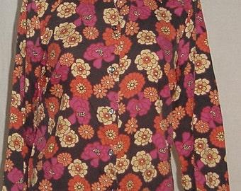 80's/90's vintage blouse flower power mod hippie