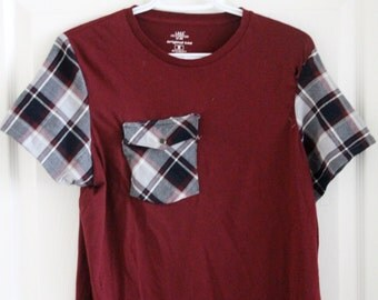 Revamped Maroon T-Shirt with Plaid Sleeves and Pocket