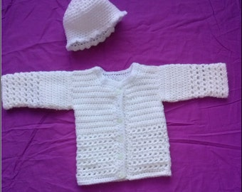 Beautiful Newborn Baby Girl's Soft Hand Crocheted White Cardigan/ Jacket with Matching Hat 0-3 Months Size 000 (approx)