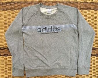 Vintage 90's Adidas Grey Black 3 Stripes Sport Classic Design Skate Sweat Shirt Sweater Varsity Jacket Size M #A419