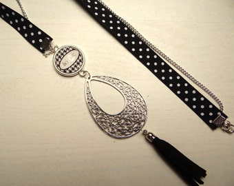 Necklace black white silver necklace