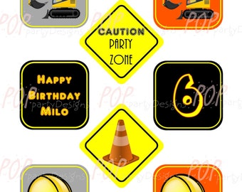 Personalized Construction Birthday Cupcake Toppers, Printable, Digital File