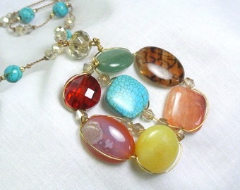 Gold-Filled Wire Wrapped Around Assorted Gemstones Necklace
