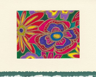 Handmade Greeting Card with original art-60's Flowers