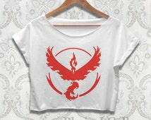 Team Valor Crop Top Shirt Pokemon Go Team Tshirt Clothing For Women Ladies Teen Color Black White