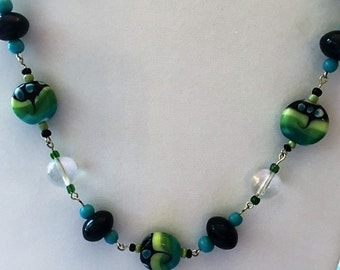 Aqua, green and black lampwork bead necklace.
