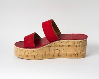 PARAGGI - scarpe donna in pelle e sughero, personalizzazione altezza suola, colore e tipo di pelle compresa nel prezzo.