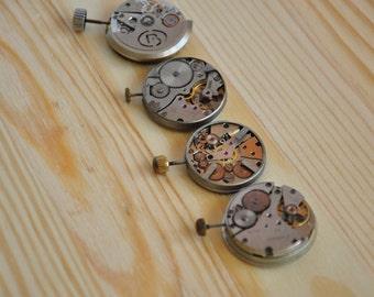Watch Movements with faces-set of 4,Steampunk Jewellery,Jewelry Supplies Soviet Watch Slava,Poljot,Vostok Clock- Steampunk Supplies,USSR A12