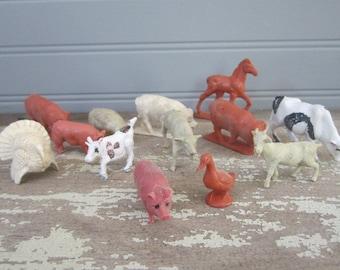 Vintage Plastic Miniature Farm Animals Horse Cow Pigs Duck Turkey Goat Plastic Animals