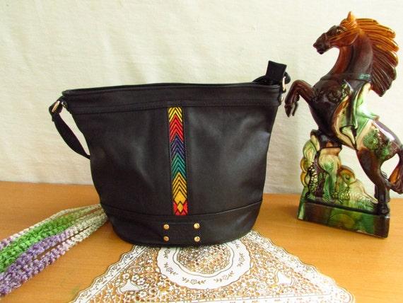 Black leather bag, Handmade leather bag, women's handbag, Leather Tote, leather ladies bag, shoulder bag, colorful bag