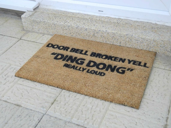 Doorbell broken funny doormat 60x40cm novelty gift - Novelty welcome mats ...