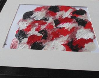 Red, Black, White, sparkle,Original art by S.A. Rivera